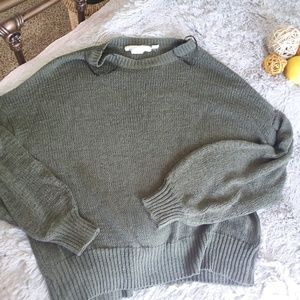 H&M LOGG Green Bubble Sleeve Oversized Sweater
